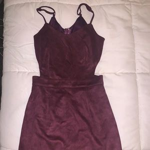 Suede cut-out dress